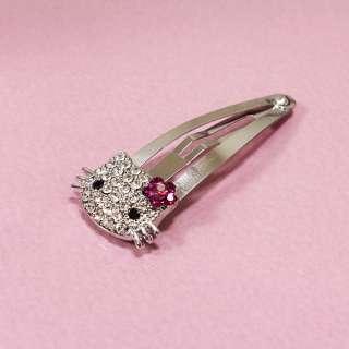 Hello Kitty Bling Swarovski Crystal Clip Hair Pin Children Gift