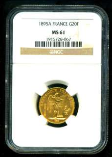 1895 FRENCH ANGEL GOLD COIN 20 FRANCS * NGC CERTIFIED GENUINE & GRADED