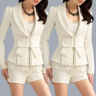 Ladies Shawl Collar Bowknot Decor Long Sleeve Blazer Jacket