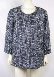 JM Collection NEW Plus Sz 16W/1X Black/White Weave Dress Jacket/Coat