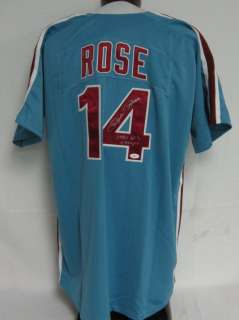 Pete Rose 1980 W.S. Champs Autographed/Signed Phillies Jersey JSA