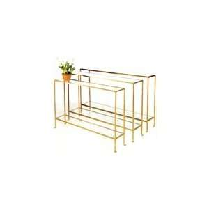 Woodard Skinny Console with Clear Glass in Gold Leaf (one