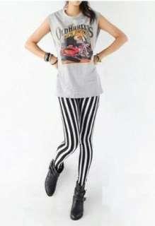 New Cotton Gothic Legging Pant LL10 Black White Strip
