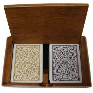 New High Quality Wooden Box 2 Decks Of Copag 1546 Black