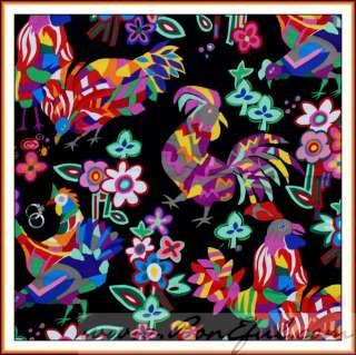 BOOAK Fabric VTG OOP Asian Writing Word Symbol Black Red Alexander