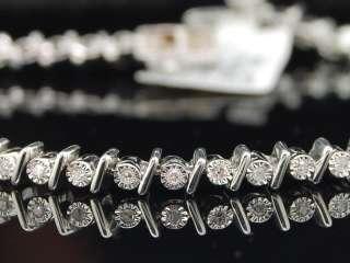 ROW DIAMOND WHITE GOLD FINISH TENNIS BRACELET 7 INCH