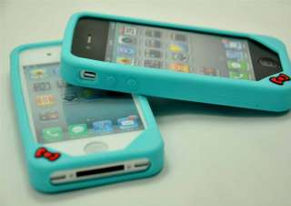 Cuty Silicone Hello Kitty Case Cover for iPhone 4G Lite Blue