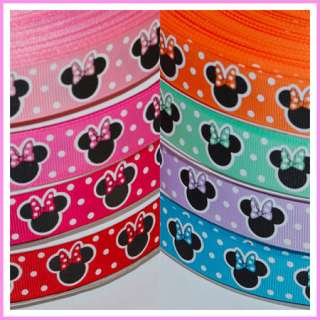 10Y 7/8 Valentine Red Dot Minnie Mouse Grosgrain Ribbon