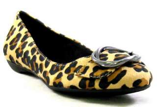 New DR SCHOLLS Graduate LEOPARD PRINT FLAT Womens Shoe 7 M