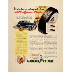 1939 Ad Goodyear Rubber Tires Wheels Car Rayotwist Cord