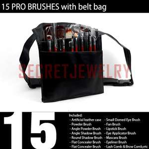 15 pcs Cosmetic Make Up Brush Set with Waist Belt Bag