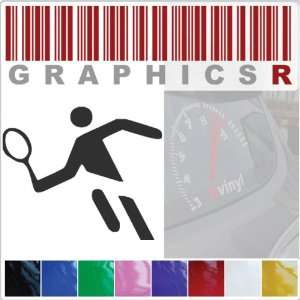 Decal Graphic   Tennis Player Olympic Sport Stick Figure A159   White