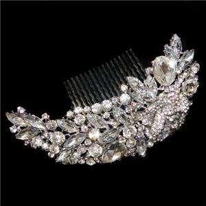 Delicate Bridal Flower Drop Hair Comb Austrian Rhinestone Crystal