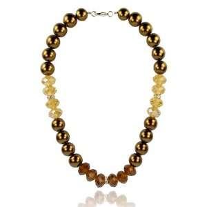 Wedding Bridal Bronzed Pearl Crystal Necklace Fashion Jewelry Jewelry