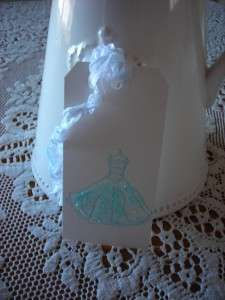 Shabby French Chic Aqua stamped dress gift tags 6 glitter bridal