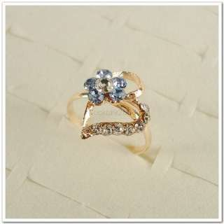 Lots of 50PCS Heart Flowers Gold Plated Rhinestone Crystal Rings 50A07