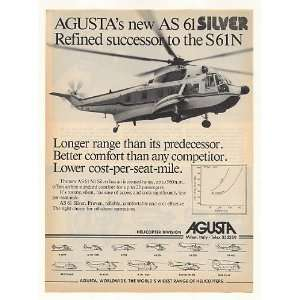 1982 Agusta AS 61 Silver Helicopter Photo Print Ad