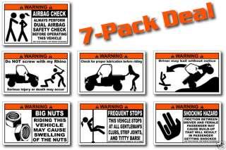 Pack Funny UTV Warning Stickers for Rhino SBS 700 4x4