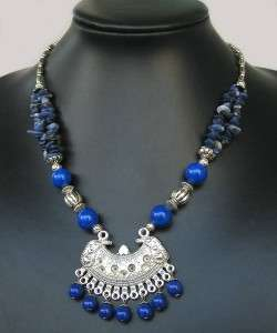 NEW IN TIBET STYLE TIBETAN SILVER LAPIS NECKLACE