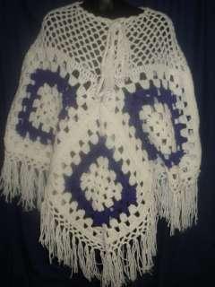 and White Crochet Poncho Cape Handmade Retro 1S18 Crocheted