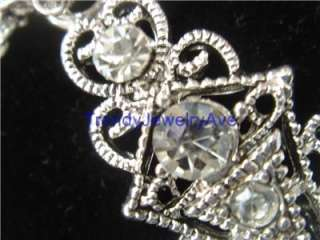 Marcasite Clear crystal faith cross western cowgirl pendant long