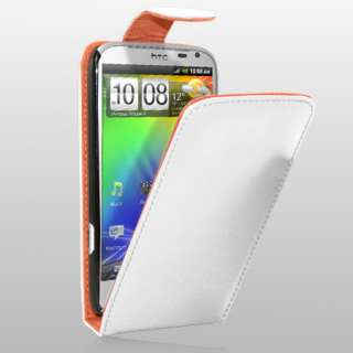 White Flip Leather Case Cover For HTC Sensation XL + Screen Protector