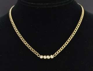 Estate Vtg 14K Gold Diamond Bubble Curb Link Chain Necklace