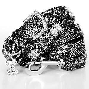 Python Print Leather Dog Collar & Leash Set   Black / Large Kitchen