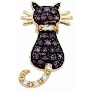 Chocolate Brown Diamond Cat Pendant 10k Yellow Gold Charm