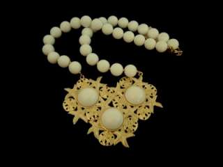 VTG Gold Tone & Enamel Sand Dollar Starfish Bib Necklace  White Lucite