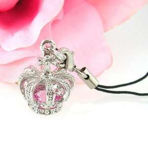Silver Royal Crown Pink Crystal Cell Phone Charm Strap