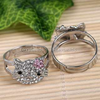 PINK CRYSTAL FLOWER HELLOKITTY SILVER PLATE CUTE FINGER RING #9