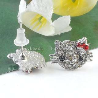 RED CRYSTAL CROWN *HELLOKITTY* EAR STUD EARRING CUTE KITTY CAT
