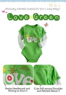 NWT Vaenait Baby Newborn & Baby Girls Cute Bodysuit  Love Green