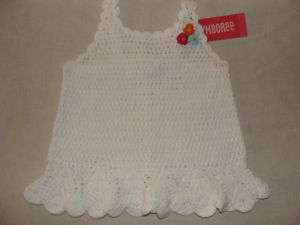 Gymboree FLORAL REEF White Crochet Flower Tank Top Shirt NWT 2T