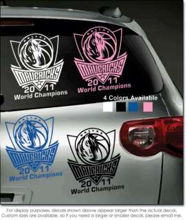 Dallas Mavericks Vinyl Window Sticker/Decal NBA Champs