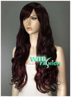 Long 25 in. Curly Dark Burgundy Hair Wig NF38