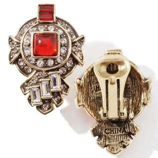 HEIDI DAUS RED CRYSTAL BLACK DIAMOND COLOR FLOWER NECKLACE & EARRING