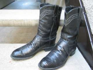 Justin Used Black Lizard Cowboy Boots Ropers 8.5