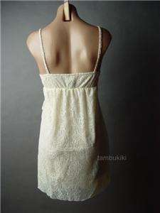 CROCHET Tiered Embroidered Lace Romantic Ivory Empire Waist Babydoll