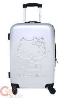 Sanrio Hello Kitty Trolley Bag Emblms Luggage Silver Metal 2