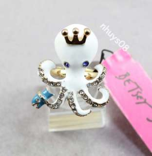 Free Ship Betsey Johnson octopus Earrings Necklaces ring set