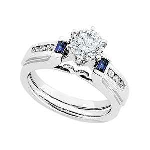 14K White Gold Diamond & Sapphire Enhancer Ladies Ring