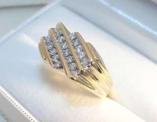 Mens 10K Solid Yellow Gold 16 Diamond .70TDW Ring