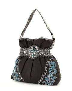 BLACK RHINESTONE CROSS COWGIRL WESTERN PURSE HANDBAG