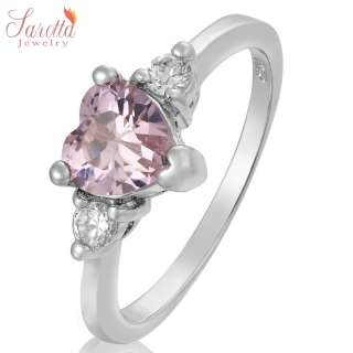 Lady Fashion Jewelry Heart Cut Pink Sapphire Fine Clear Topaz Ring