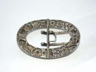 Antique Kirk Sterling Silver Belt Buckle Repousse