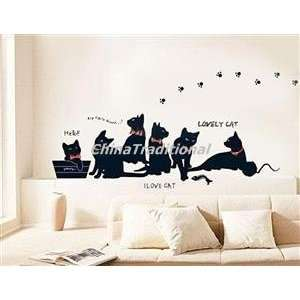 DIY Home Decor Cats PVC Wall Decal Sticker Black