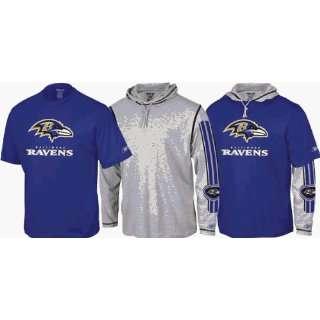 Baltimore Ravens Reebok Hoodie Tee Shirt 3 in 1 Combo