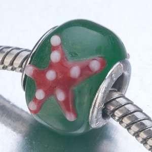 Starfish Green Murano Glass Beads Fits Pandora Charm